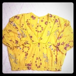 FREE PEOPLE Sunny yellow top
